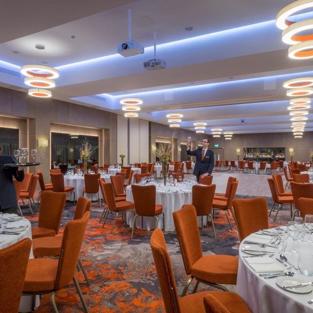 Clayton Hotel Chiswick team setting ballroom for gala banquet